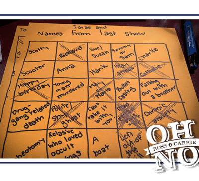 "A handwritten bingo board titled ""ideas and names from last show"""