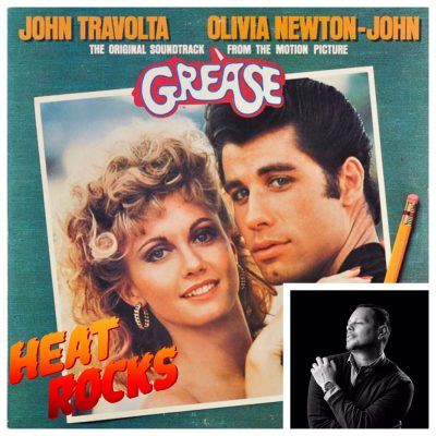 The album art for Grease overlaid with a portrait of Luis Xtravaganza