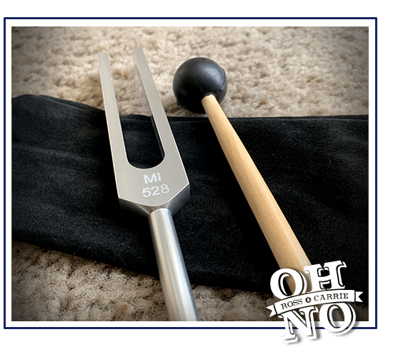 A tuning fork and rubber mallet on top of a black bag