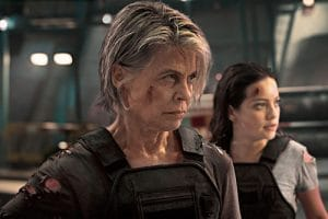 A still of Linda Hamilton staring menacingly from 'Terminator: Dark Fate'