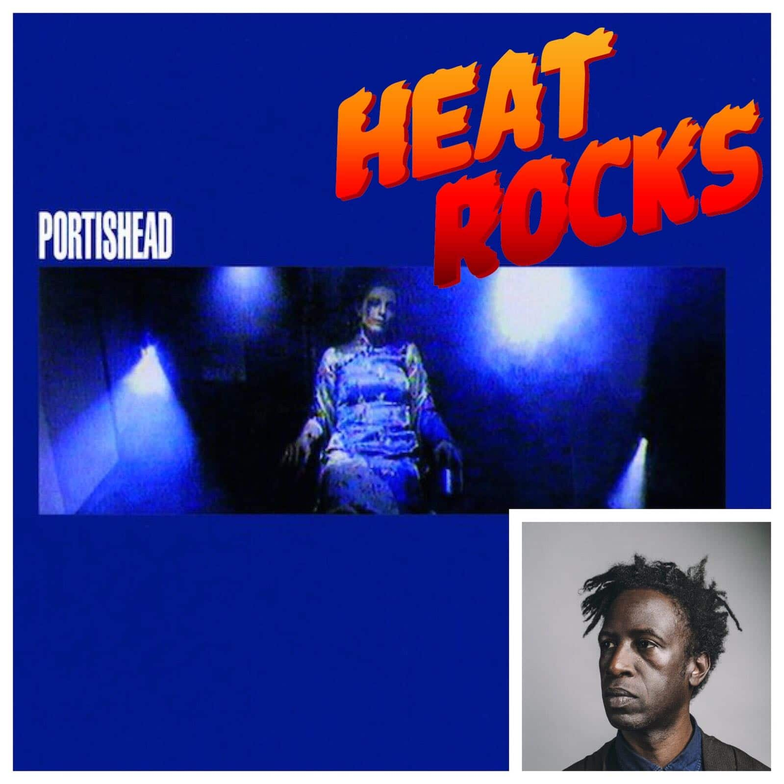 "A portrait of Saul Williams over the album art for Portishead's ""Dummy"""