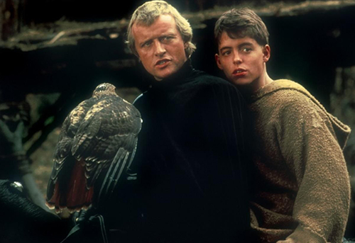 Film still from the movie 'Ladyhawke.' Matthew Broderick and Rutger Hauer sit on a horse together