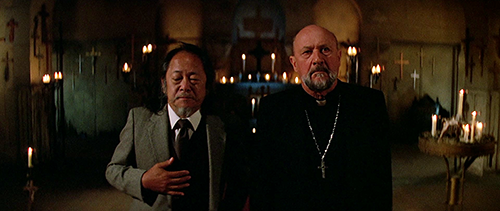 Donald Pleasence and Victor Wong from 'Prince of Darkness' in a spooky church