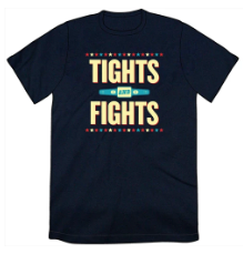 blue shirt with Tights and Fights logo
