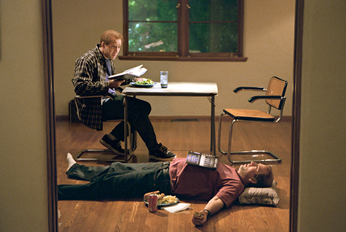 Film still from the movie 'Adaptation' with Nicolas Cage playing both Charlie Kaufman and his identical twin Donald Kaufman