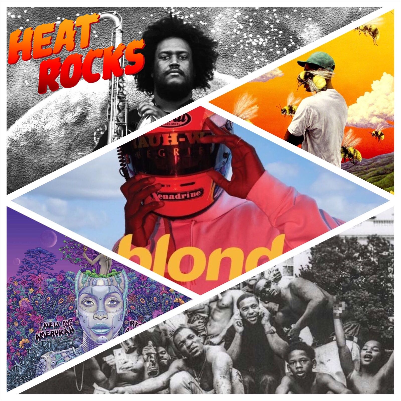 A compilation of the album art of several different albums
