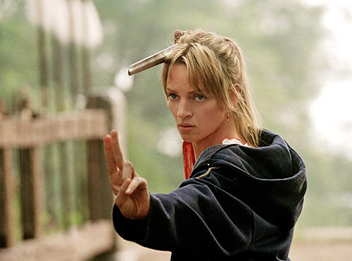 "Uma Thurman as ""The Bride"" in 'Kill Bill' training in Kung Fu"