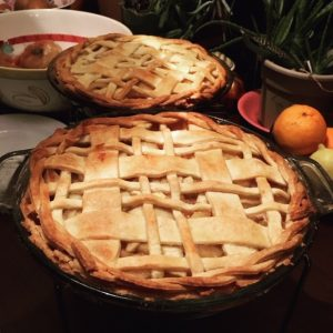 two pies with plaid style crust design