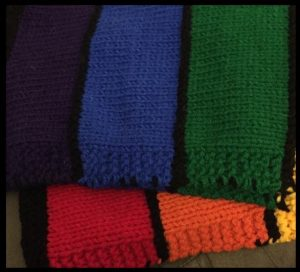 knitted rainbow colors baby blanket