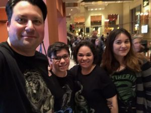The family wearing Harry Potter shirts