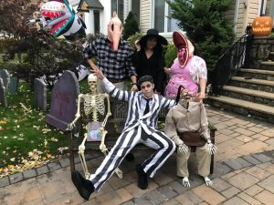 Lana, Dan and their kids dressed as characters from Beetlejuice