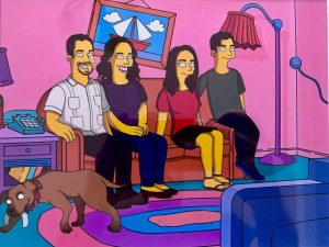 The family drawn in the Simpsons animation style