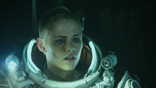 Film still from 'Underwater' (2020) Kristen Stewart in a deep sea diver suit, looking scared
