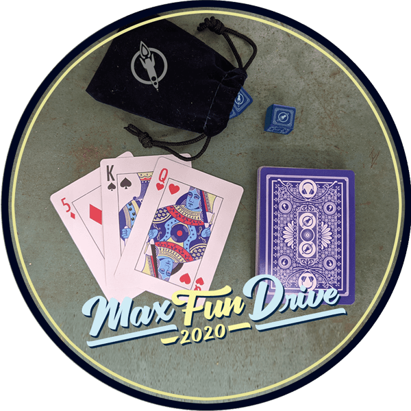 A black dice bag with the MaxFun logo in silver, blue six-sided dice with the MaxFun logo in place of the six, and a deck of playing cards with symbols related to MaxFun shows woven into the front and back designs