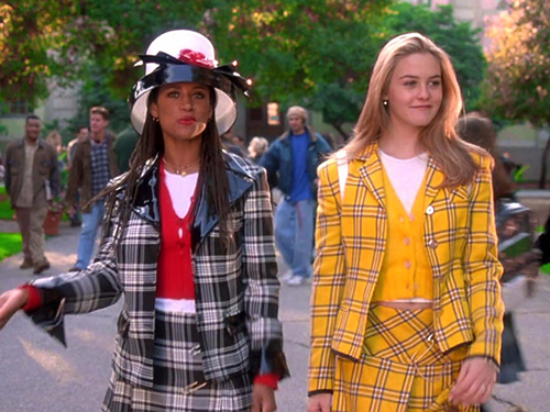 Film still from 'Clueless' (1995). Alicia Silverstone and Stacey Dash walking into high school