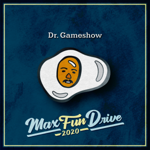 Dr. Gameshow. A sunny side up egg with a moustached face in the yolk.