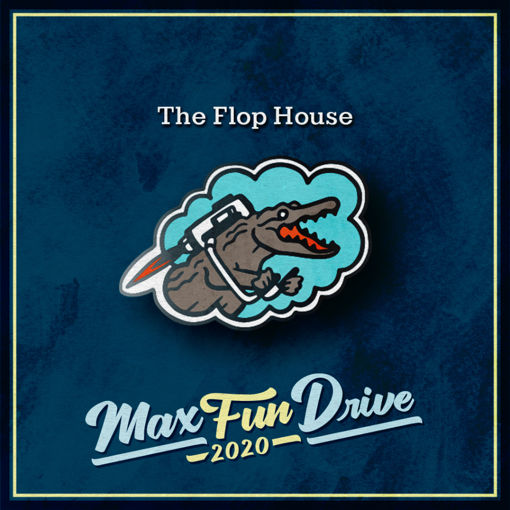 The Flop House. An excited crocodile flying with a jetpack over a blue background.