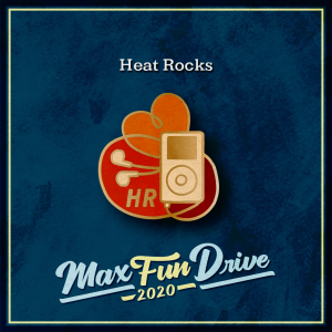 """Heat Rocks. A gold music player with headphones coming out of the bottom. The headphones curl around several times, forming an orange heart at the top. The inside of the loops are filled in with shades of red. One of the loops contains the letters """"HR"""" in gold."""