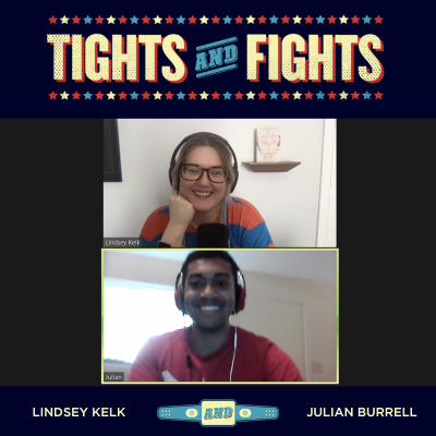 Lindsey and Julian in the Tights and Fights logo frame.