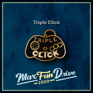 """Triple Click. A black video game controller outlined in gold under the words """"Triple Click""""."""