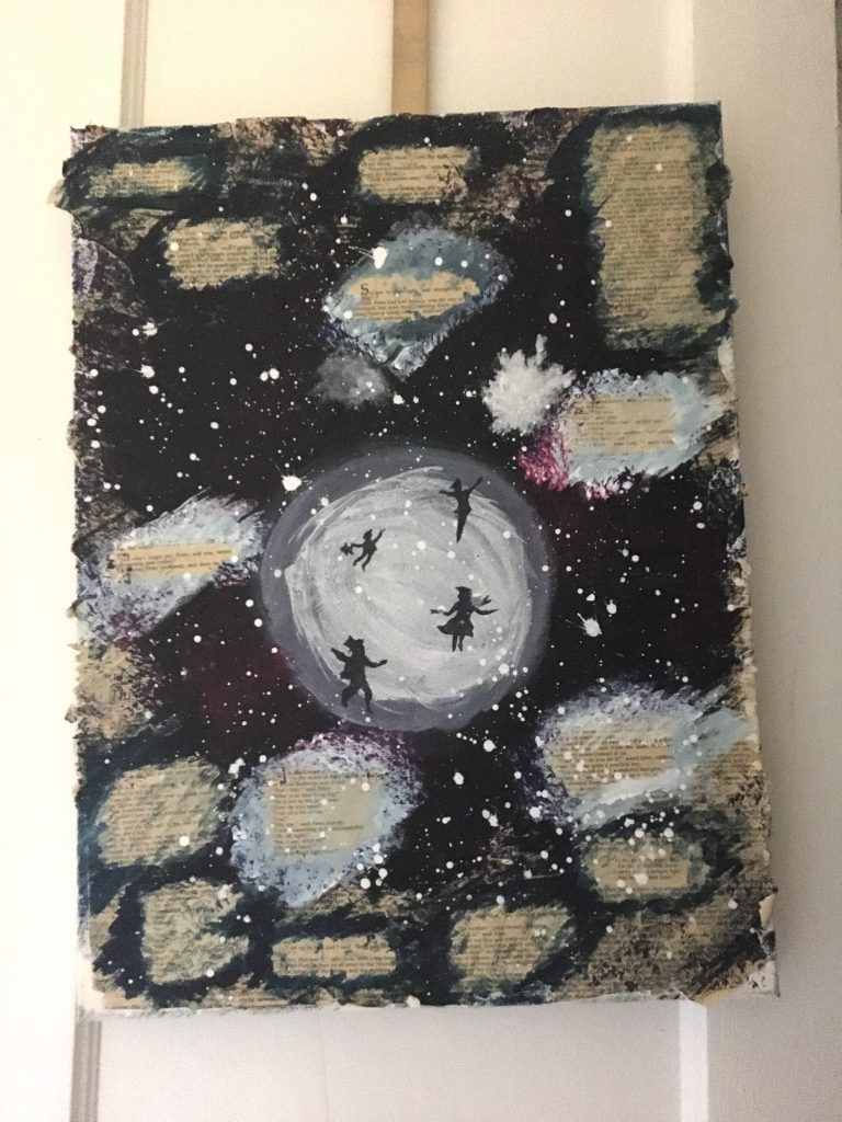 A painting depicting a starry night with the silhouettes of children over the moon, with book text throughout