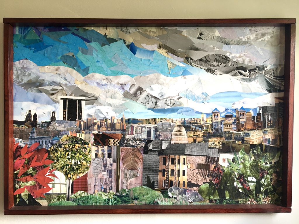 a collage depicting a cityscape