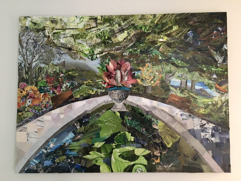 collage depicting a park water feature