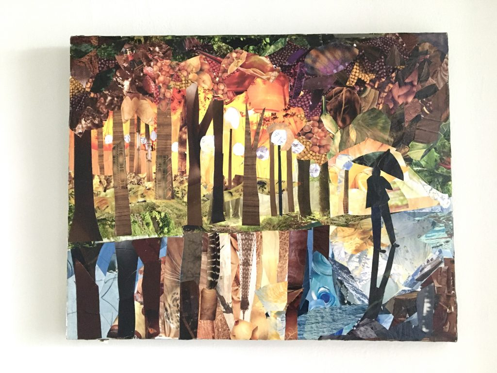 collage depicting a person with an umbrella walking near trees and lightposts