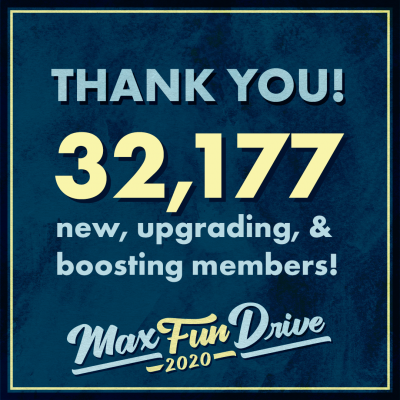 """Thank you! 32,177 new, upgrading, and boosting members"" on a blue background"