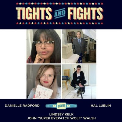 Picture of Danielle, Hal, Lindsey, and John Walsh with the Tights and Fights logo at the top.