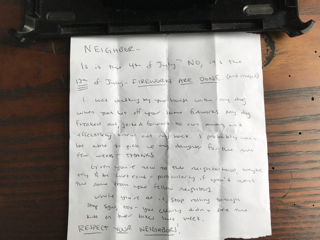 a hand written note
