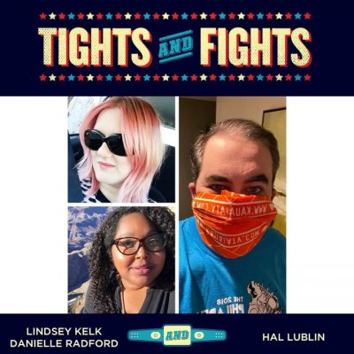 Hal, Danielle and Lindsey in the Tights and Fights logo frame