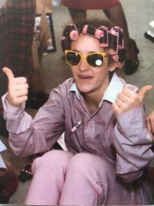 Anna Cox as a teenager in fabulous pink curlers.