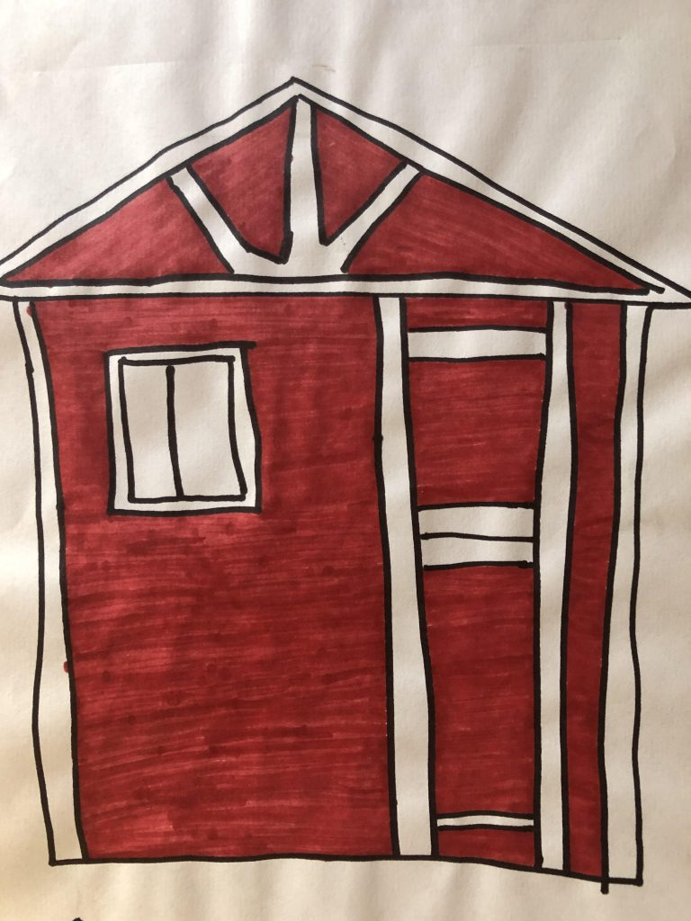 A drawing done with markers of a red and white play house, in the style of a barn