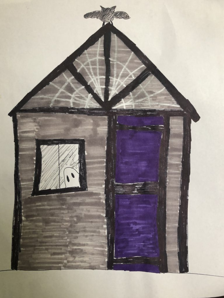 A marker drawing of a gray play house with black trim and a purple door, with a ghost in the window and a spiderweb on the wall under the roof. A bat is also on top of the roof.