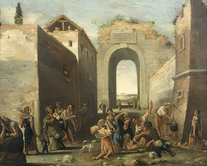 a 17th century painting depicting people eating pasta with their hands in a street