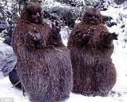 a still from BBC's The Lion, the Witch, and the Wardrobe, depicting two people in giant beaver costumes