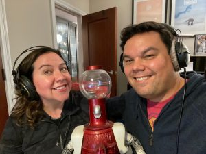 Kristen Anderson-Lopez and Robert Lopez with Tom Servo