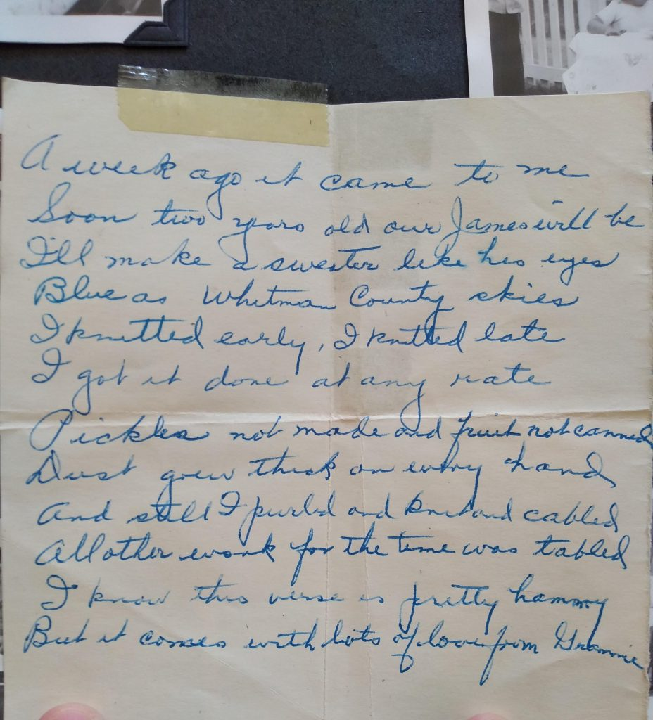 an old hand-written note that reads: