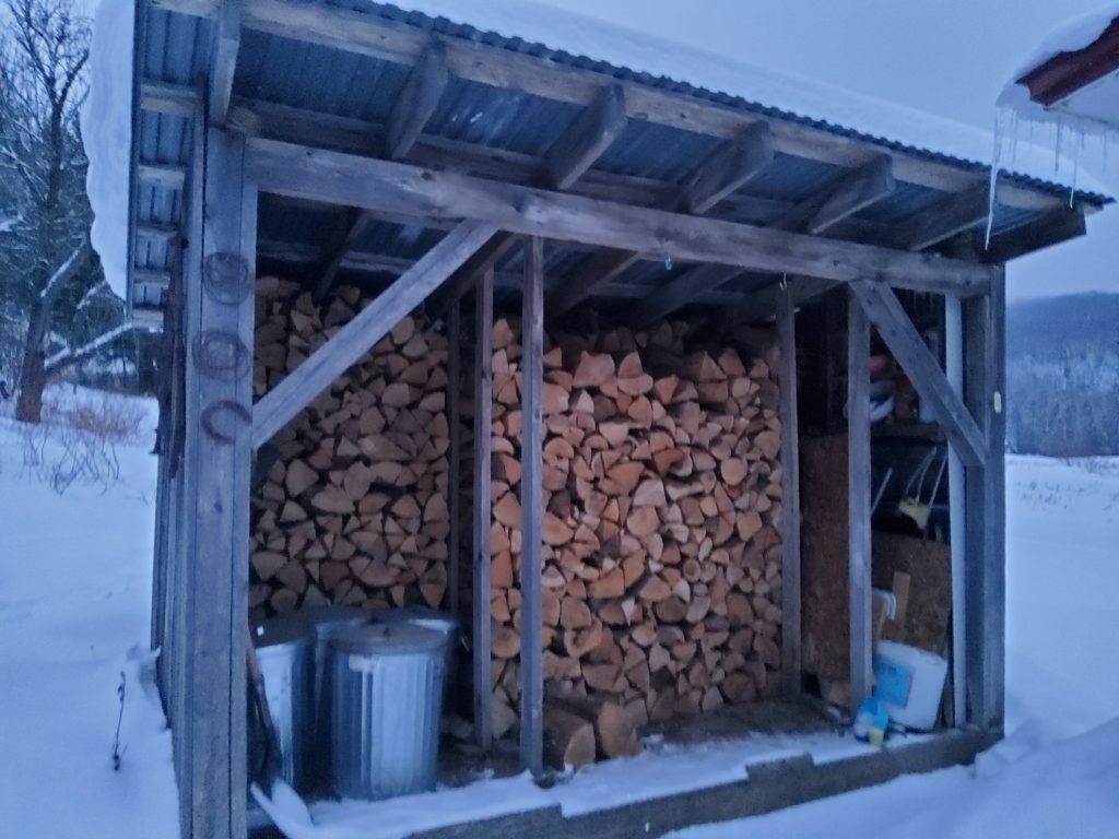 A large amount of cut wood stacked in a three-walled shed.