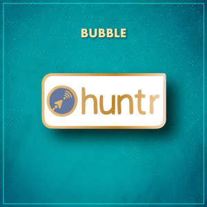 """Bubble. A white rectangle with a blue circular logo featuring an arrow pointing at a wifi icon and the word """"huntr"""" in gold to the right of it."""