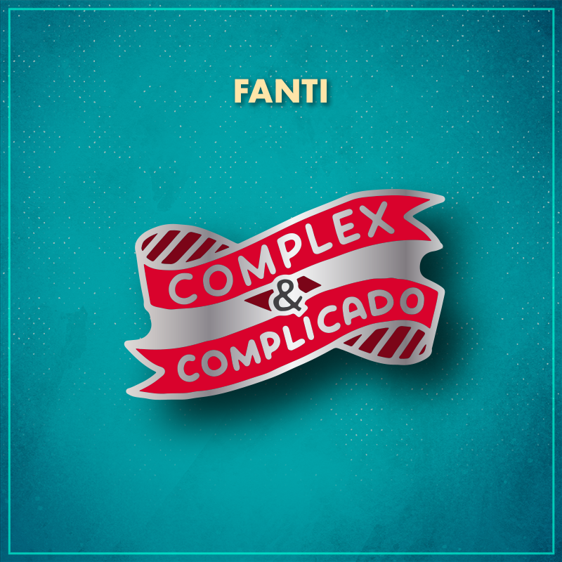 """FANTI. A red ribbon in a loose coil that reads """"complex & complicado"""" in silver."""