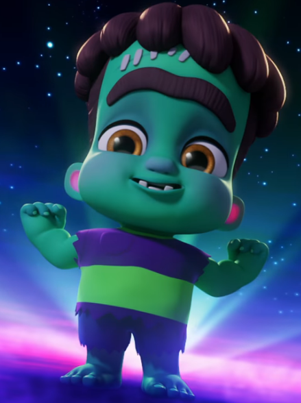 A photo of a child Frankenstein-like monster from the animated show Super Monsters