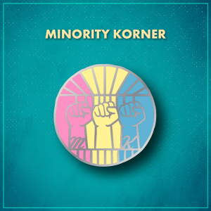 """Minority Korner. A circle with three closed fists coming up from the bottom with the letter """"M"""" on the wrist to the left and the letter """"K"""" on the wrist to the right. The pin is vertically divided into a pink, yellow, and blue thirds."""