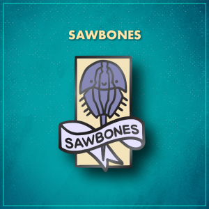 """Sawbones. An off-white tall rectangle with a smiling periwinkle horseshoe crab. A white ribbon across the middle reads """"Sawbones"""" in black lettering."""