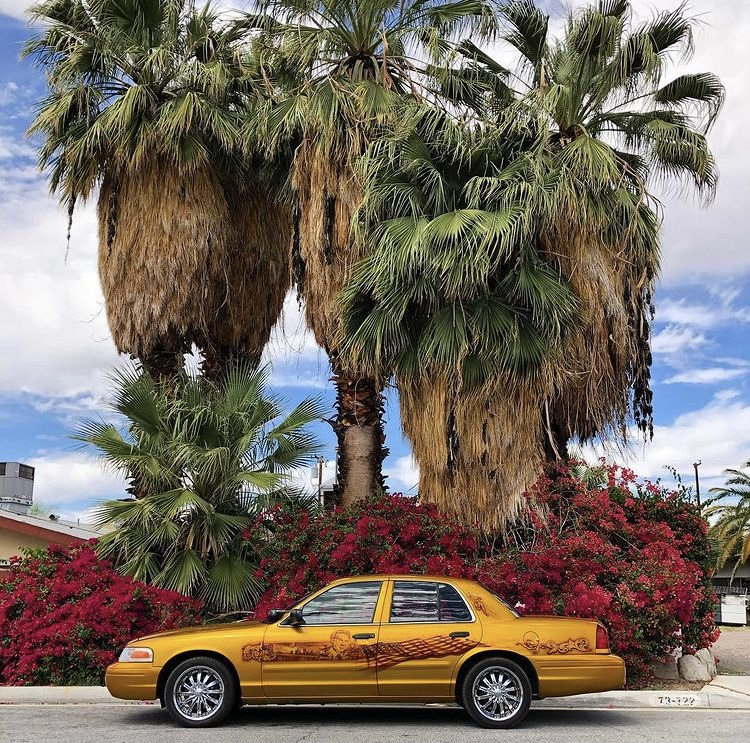 The same gold car with the Jerry Orbach airbrush illustrations, from the side, in front of palm trees and bougainvilleas. The side view shows Jerry Orbach along the doors, with a cityscape and United States flag.