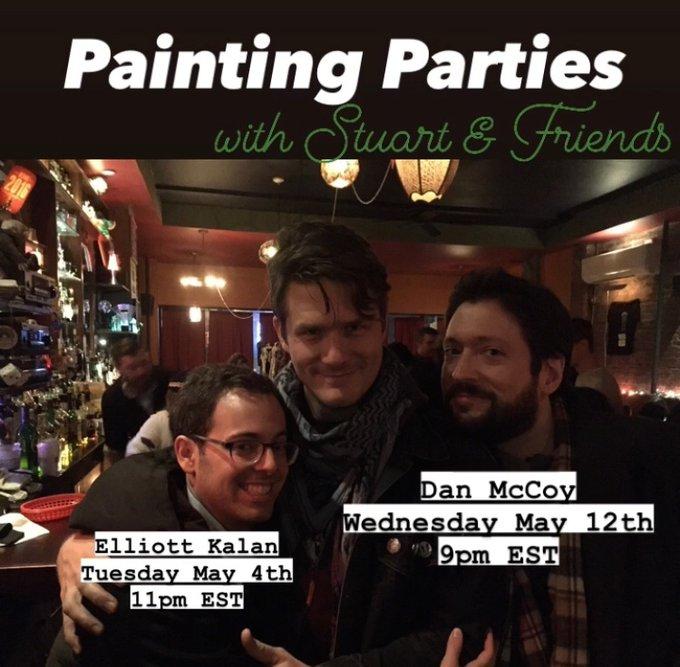 Elliott, Stuart, and Dan in a dimly lit bar