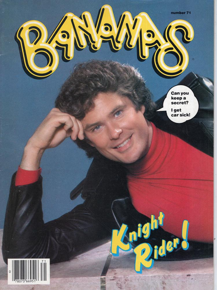 A Bananas Magazine cover from 1984 with David Hasselhoff on the cover. There is a speech bubble next to his face that says,