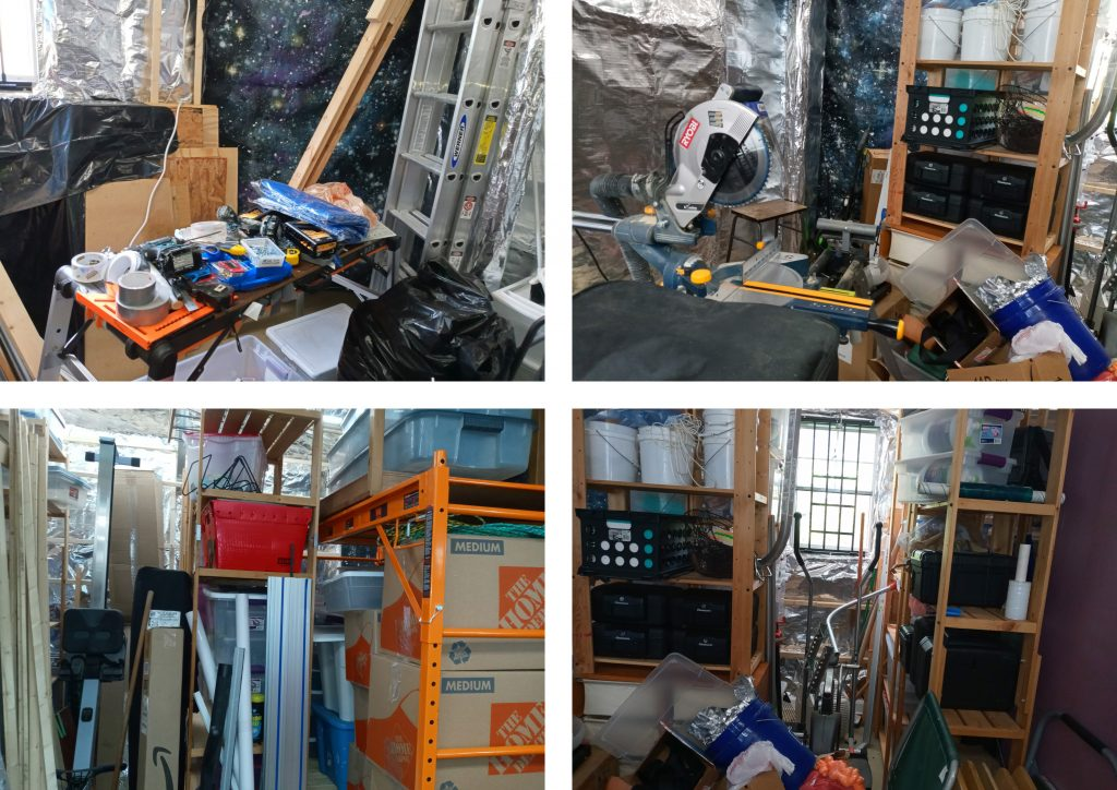 Photo collage of four photos depicting a messy workspace and storage area, with the space panels in the background.
