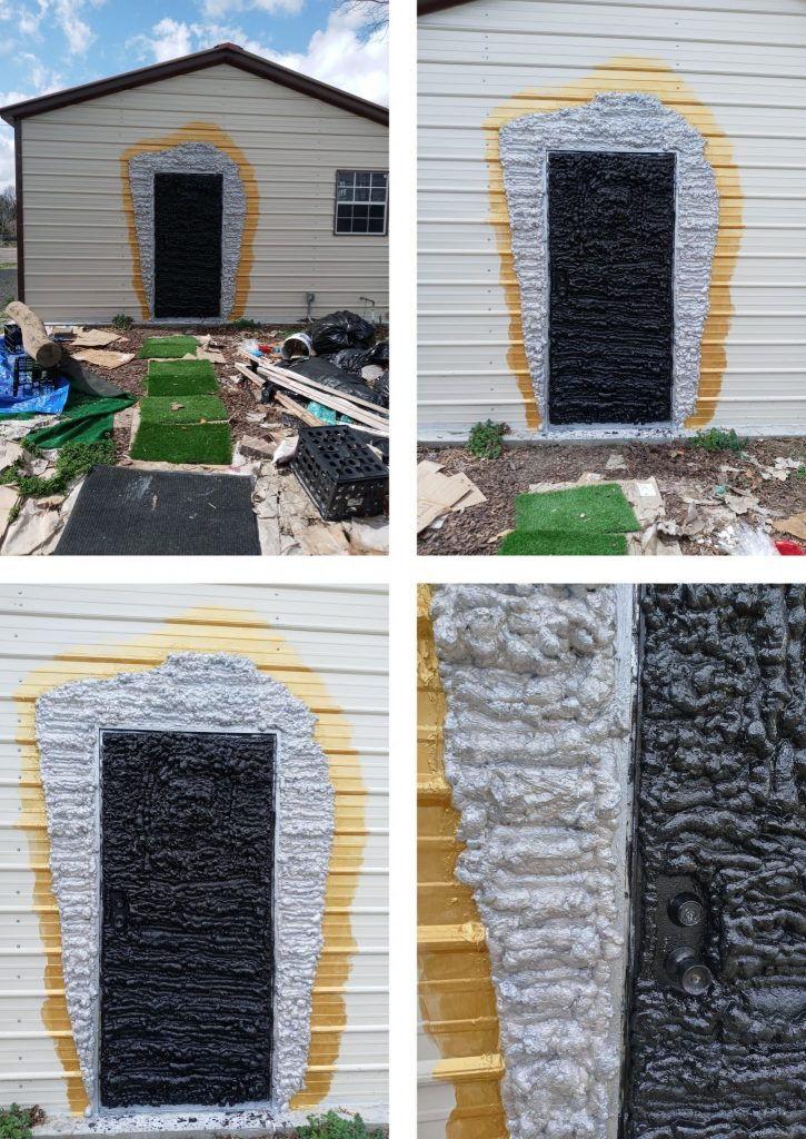 A photo collage of four photos. They all show various angles of a painted black door on a white building. Around the door is painted silver and then gold. The photo in the bottom right shows detail where one can see that spray foam insulation has been applied to give the doorway texture.